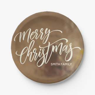 Merry Christmas Typography on Creamy Gold Texture Paper Plate