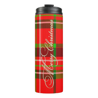 Merry Christmas Typography on Red/Green Tartan Thermal Tumbler
