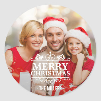 Merry Christmas Typography Overlay Custom Photo Classic Round Sticker