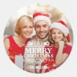 Merry Christmas Typography Overlay Custom Photo Round Sticker
