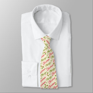 Merry Christmas Typography Pattern and holly Tie