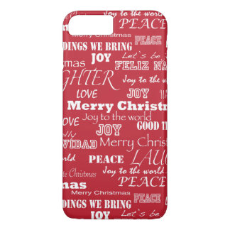 Merry Christmas Typography Pattern iPhone 7 Plus Case