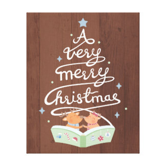 Merry Christmas Typography Reindeers Canvas Print