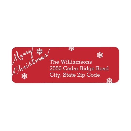 Merry Christmas Typography Snowflake Simple Return Address Label