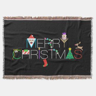 Merry Christmas Typography Throw Blanket