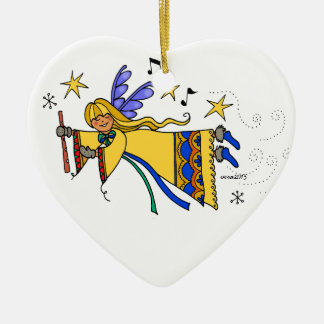 Merry Christmas Ukrainian folk art Angel Ceramic Heart Decoration