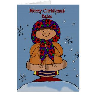 Merry Christmas Ukrainian Girl Folk Art Card