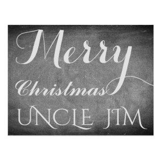 Merry Christmas Uncle Jim Chalkboard Typography Postcard