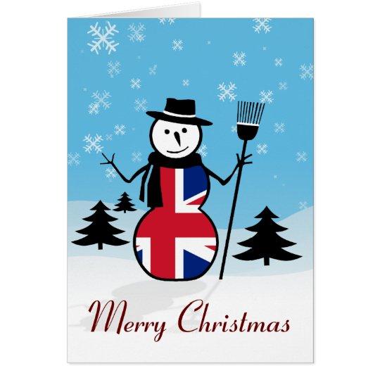Merry Christmas Union Jack British Snowman Card