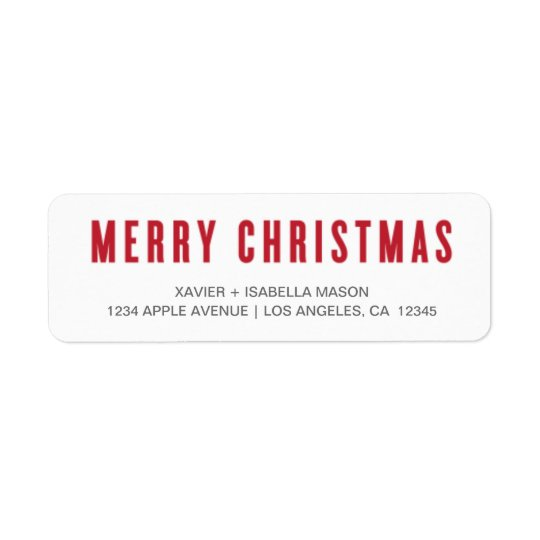 Merry Christmas Uppercase | Red Return Address Label