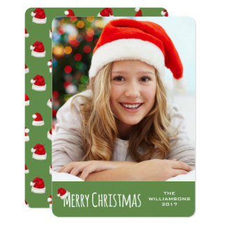 Merry Christmas Vertical Whimsical Santa Hat Card