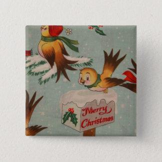 Merry Christmas Vintage Birds 15 Cm Square Badge