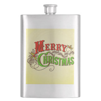 Merry Christmas Vintage Card Slogan Hip Flask