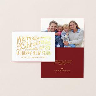 Merry Christmas Vintage Chalkboard Gold Foil Foil Card