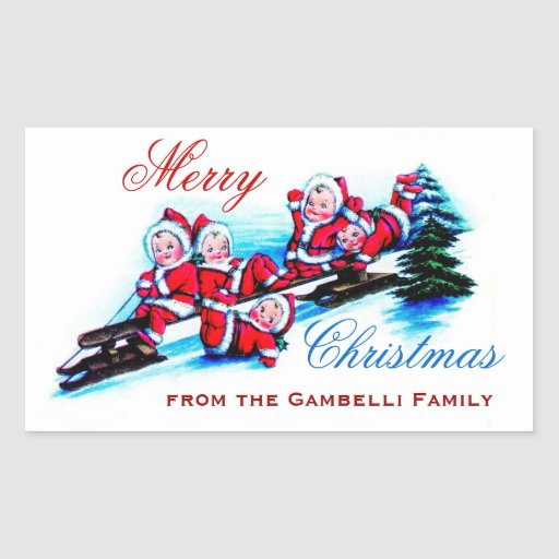 Merry Christmas -  Vintage Elves Sledding in Snow Stickers