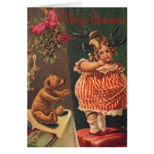 Merry Christmas Vintage Girl and Bear Card