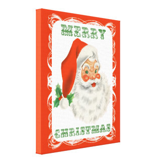 Merry Christmas Vintage Retro Santa Claus Canvas Print