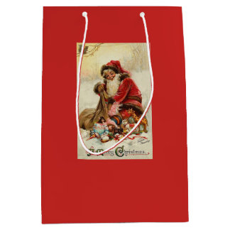 Merry Christmas Vintage Santa Medium Gift Bag