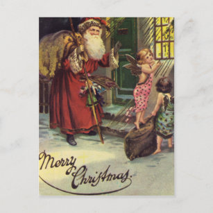Merry Christmas, Vintage, Santa with Angels Holiday Postcard