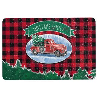 Merry Christmas Vintage Truck Add Name Floor Mat