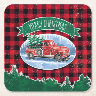 Merry Christmas Vintage Truck Square Paper Coaster