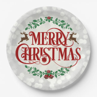 Merry Christmas Vintage Wreath Silver Party Plate 9 Inch Paper Plate