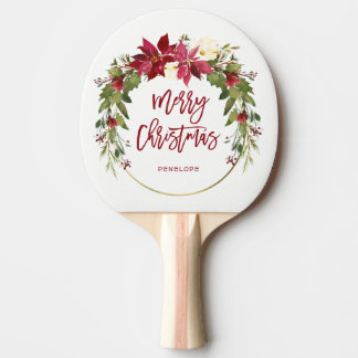 Merry Christmas Watercolor Floral Wreath with Gold Ping Pong Paddle