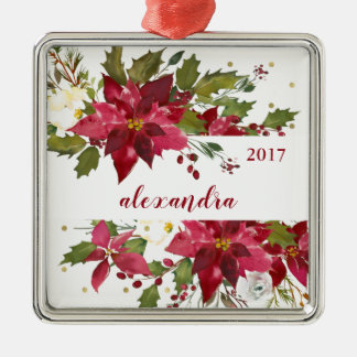 Merry Christmas Watercolor Flowers with Gold Dots Christmas Ornament