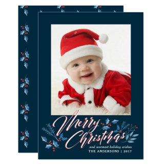 Merry Christmas Watercolor Holly Branches Holiday Card