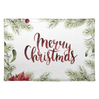 Merry Christmas Watercolor Holly Mistletoe Frame Placemat