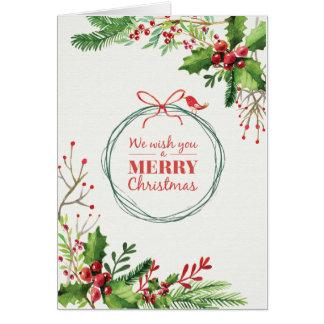 Merry Christmas watercolor painted mistletoe Card