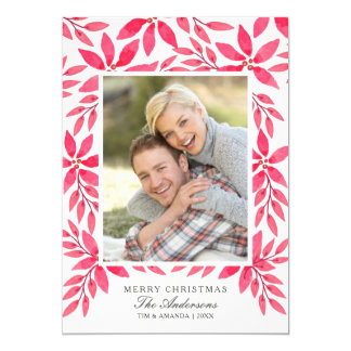 Merry Christmas Watercolor Painted Poinsettia Card