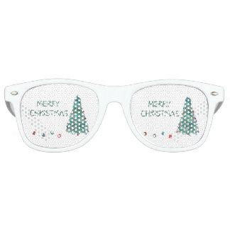 Merry Christmas Watercolor Tree Retro Sunglasses