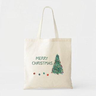 Merry Christmas Watercolor Tree Budget Tote Bag