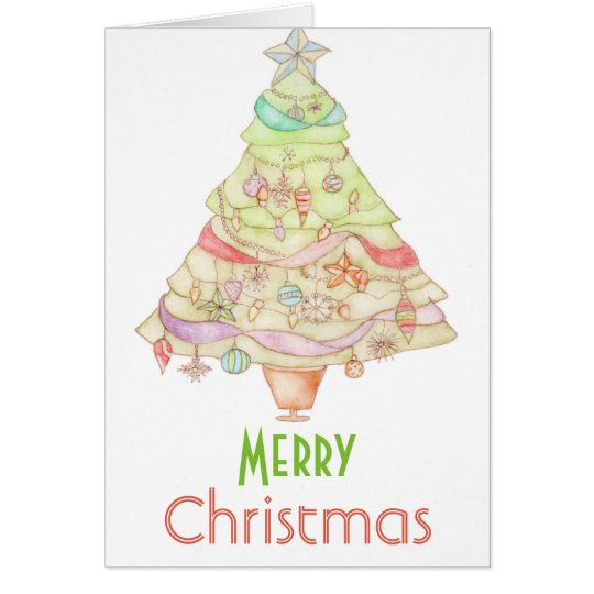 Merry Christmas watercolour greeting card