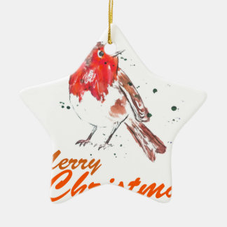 Merry Christmas Watercolour Robin Design Christmas Ornament