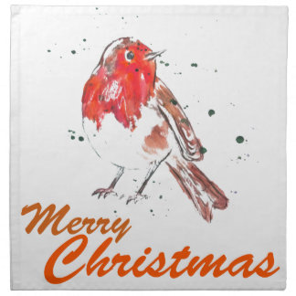 Merry Christmas Watercolour Robin Design Napkin
