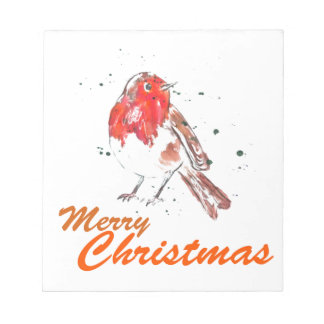 Merry Christmas Watercolour Robin Design Notepad