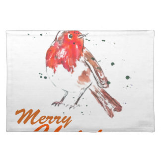 Merry Christmas Watercolour Robin Design Placemat