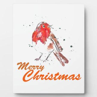 Merry Christmas Watercolour Robin Design Plaques