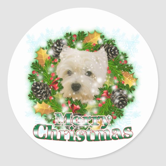 Merry Christmas Westie Classic Round Sticker