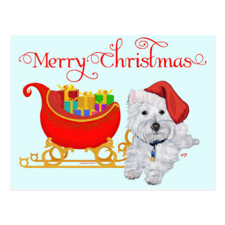 Merry Christmas Westie Post Cards