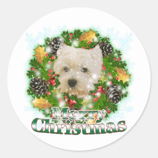 Merry Christmas Westie Round Sticker