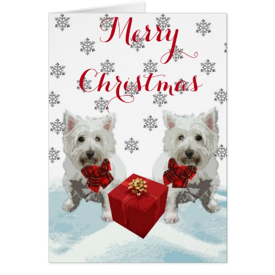 Merry Christmas Westies with Gift Card