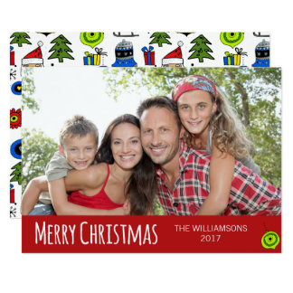 Merry Christmas Whimsical Ornaments Modern Card