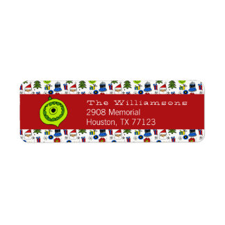 Merry Christmas Whimsical Ornaments Modern Return Address Label