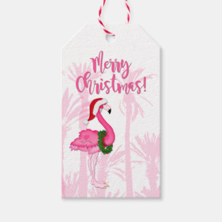 Merry Christmas Whimsical Pink Flamingo Palm Trees