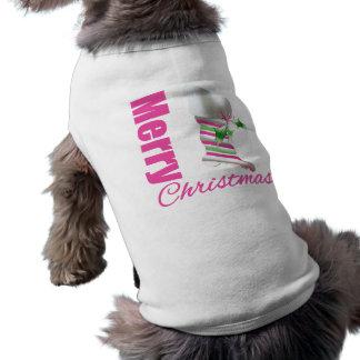 Merry Christmas Whimsical Pink Stocking Sleeveless Dog Shirt