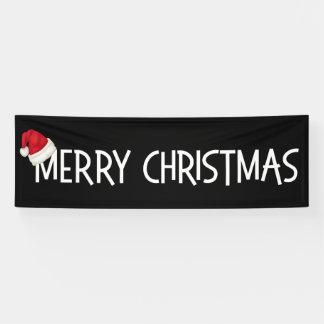 Merry Christmas Whimsical Santa Hat on Black Banner