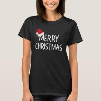 Merry Christmas Whimsical Santa Hat on Black T-Shirt